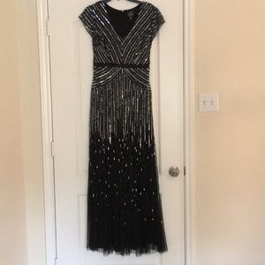 Adrianna Papell Gown Black Sequin